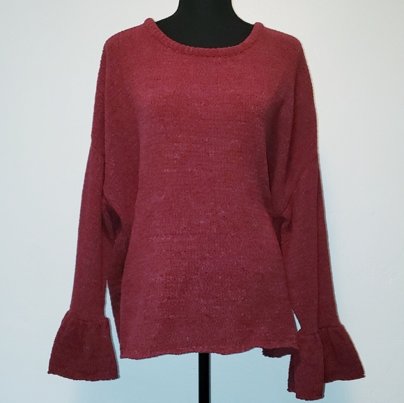 Burgundy Red Boho Sweater w/ Bell Sleeves